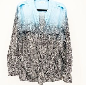 Calvin Klein Ombré Mixed Print Button Up Blouse 2X